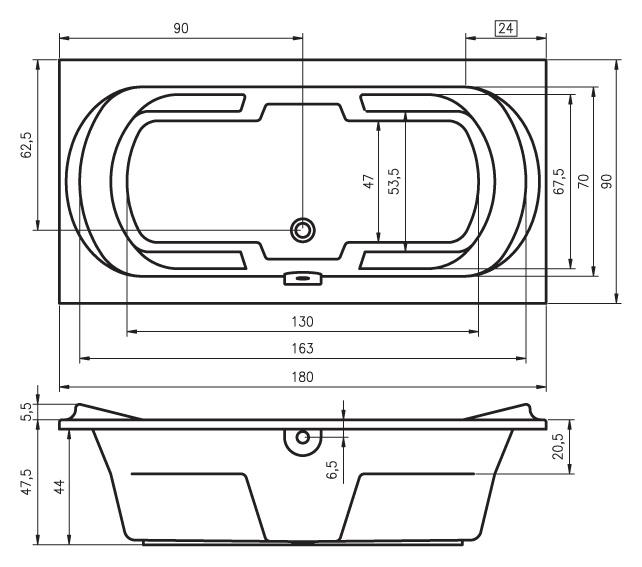 Акриловая ванна RIHO MONTREAL прямоугольная 180х90.